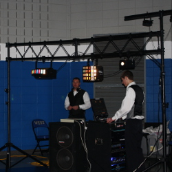Setting up for a formal high school dance