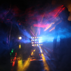 Lasers and lights in a fogged venue
